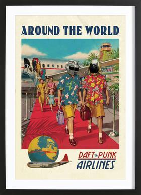 Around The World affiche sous cadre en bois