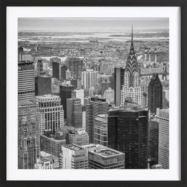 New York Skyline - Poster in houten lijst