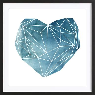 Heart Graphic Watercolor Blue -Bild mit Holzrahmen
