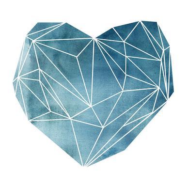 Heart Graphic Watercolor Blue -Leinwandbild