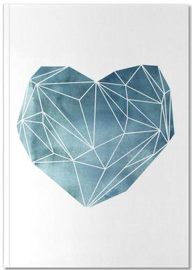 Heart Graphic Watercolor Blue Notebook