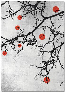 Winter tree Abstract Red Notebook