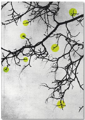 Winter tree Abstract Yellow Notebook