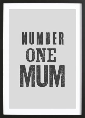Number One Mum affiche sous cadre en bois