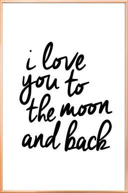 I Love You to the Moon and Back poster in aluminium lijst