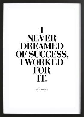 Dreamed Of Success affiche sous cadre en bois