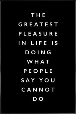 The Greatest Pleasure in Life Is Doing What People Say You Cannot Do Framed Poster