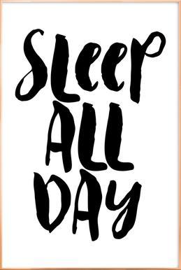 Sleep All Day affiche sous cadre en aluminium
