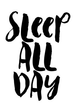 Sleep All Day Aluminium Print