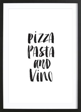 Pizza Pasta And Vino - Poster in Wooden Frame