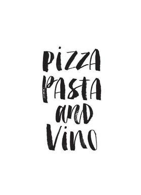 Pizza Pasta And Vino -Leinwandbild