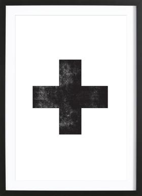 Swiss Cross White - Poster in Wooden Frame