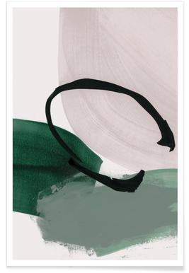 Minimalismus-Grün und Elfenbein – abstrakt -Poster