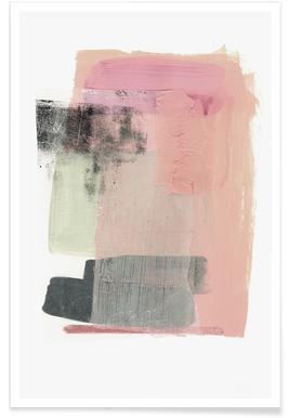 Art abstrait rose et blanc affiche