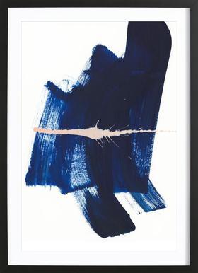 Brushstrokes 4 - Poster in Wooden Frame