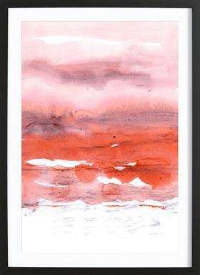 Pink and Modern Orange - Poster in Wooden Frame