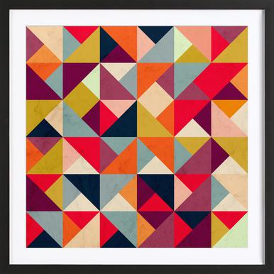 Bright Geometric Happy Pattern Poster i träram