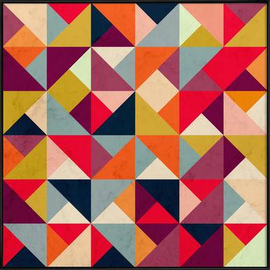 Bright Geometric Happy Pattern Poster i standardram