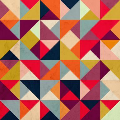 Bright Geometric Happy Pattern Akrylglastavla