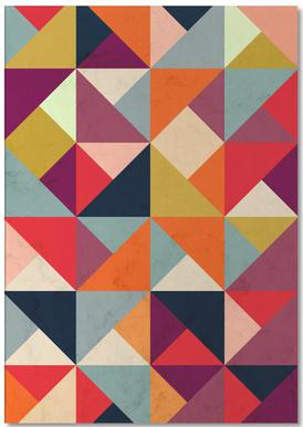 Bright Geometric Happy Pattern Anteckningsblock