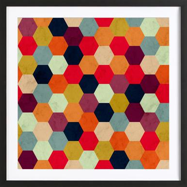 Colorful Beehive Pattern Poster i träram