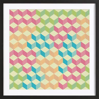 SugarCubes Geometric Pattern Plakat i træramme