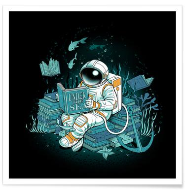 A reader lives a thousand lives - Cosmonaut Under The Sea -Poster