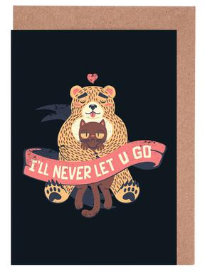 I'll Never Let You Go Bear Love Cat Greeting Card Set