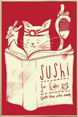 Sushi for cats Poster in Aluminium Frame