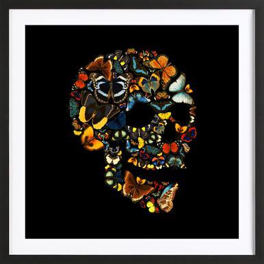 Butterfly Skull Vintage Framed Print