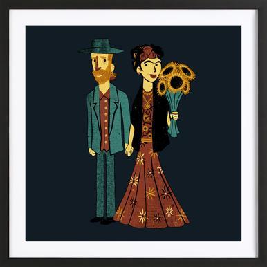 Love Is Art Frida Kahlo and Van Gogh -Bild mit Holzrahmen