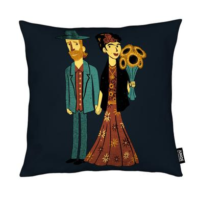 Love Is Art Frida Kahlo and Van Gogh coussin