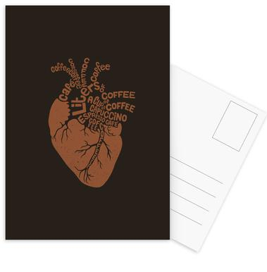 Coffee Lover Heart Postcard Set
