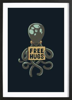 Free Hugs Octopus ingelijste print