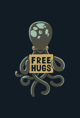 Free Hugs Octopus Akrylglastavla