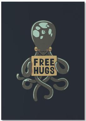 Free Hugs Octopus Anteckningsblock
