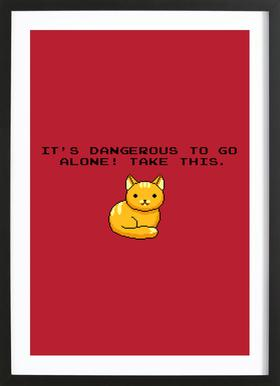Its Dangerous To Go Alone Take This Cat Poster i träram