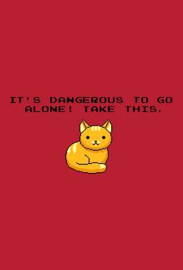 Its Dangerous To Go Alone Take This Cat Aluminiumtavla