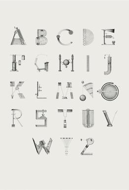 Science letters Aluminium Print