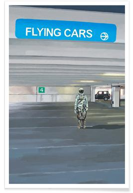 Flying Cars To The Right -Poster