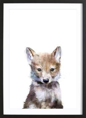 Little Wolf -Bild mit Holzrahmen