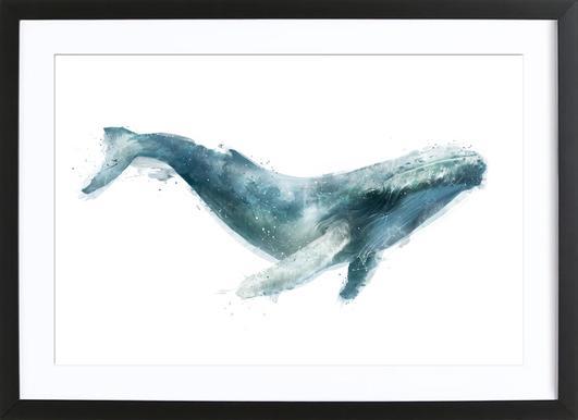 Humpback Whale affiche sous cadre en bois