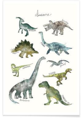 Illustration de dinosaures affiche