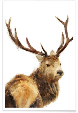 Winter Red Deer Illustration Poster