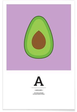 """""""The Food Alphabet"""" - A like Avocado - Premium Poster"""
