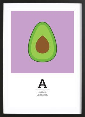 """""""The Food Alphabet"""" - A like Avocado Poster i träram"""