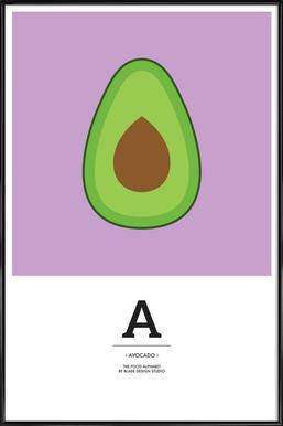 """The Food Alphabet"" - A like Avocado - Affiche sous cadre standard"