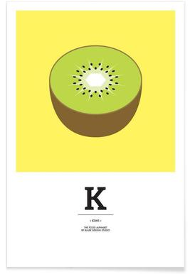 """The Food Alphabet"" - K like Kiwi - Premium Poster"