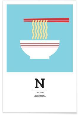 """The Food Alphabet"" - N like Noodles Poster"