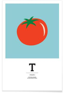 """""""The Food Alphabet"""" - T like Tomato Poster"""